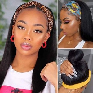 band wigs 100% HumanHair Grip Headband Scarf Wig Straight Human Hair Wig No plucking wigs for Women No Glue No Sew In