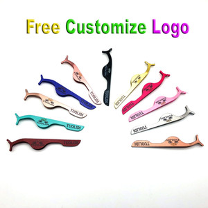 Wholesale Price Free shipping High quality professional gradient color Custom Logo False Eyelash Tweezer Applicator Clip