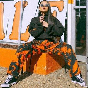 Bayan Sonbahar Yeni Sokak Hipster Cep İpli Kravat Boya Düz Gevşek Tulum Kadın Pantolon Rahat Pantolon