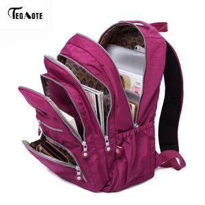 Tegaote Nylon Women's School Backpack, Informal Cellar of Laptop, Teenagers
