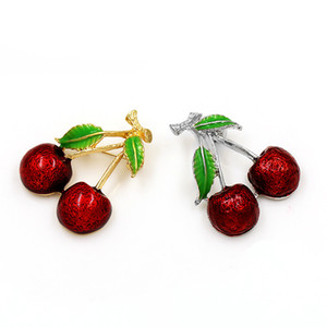 Red Cherry Women Broche Joyería Gota Aceite de Color Pintura Lady Aleación Corydalis Plateado Oro Moda Broches 1 8HD J2B
