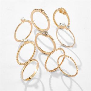 New Vintage Золотое кольцо наборы Мода CZ Кристалл камень Спиральные Pearl полые кольца для женщин Циркон геометрических Обручальные кольца