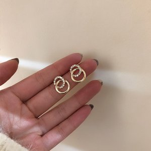2020 Korean Simple Double Circle Gold Color Metal Rhinestone Drop Earrings For Women Fashion Small Pendientes Jewelry Gifts