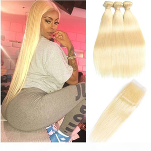 Brazilian Virgin Hair Bundles with Closures 613 Blonde Bundles with Frontal 10-30 inch Straight Human Hair 3 Bundles with 4*4 Top Closure