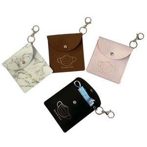 Mask Storage Bag Keychains Portable Dustproof Protective Face Mask Cover Keyring Holder Charms Fashion PU Leather Car Key Chains Accessories
