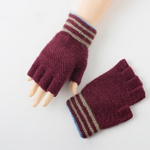 2020 Guantes sin dedos estrenar Mujer del invierno de las muchachas calientes lindos mitones rayas algodón medio dedo de la cachemira enfant fille handschuh