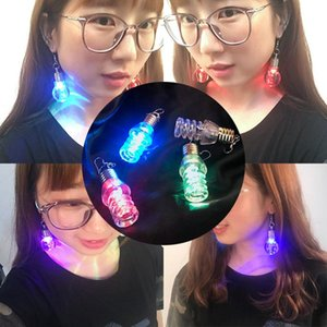 Colorful Light Bulb Stud Light Up Led Earrings Fashion Earring Dance Glow Party Accessories Supplies For Women