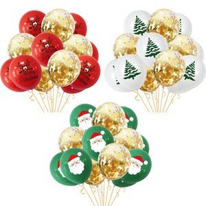 10pcs Santa Claus Elk Tree Printed Confetti Balloon Set Christmas Decoration For Home Xmas Party Navidad Noel New Year 2021 wmtEsp pets2010