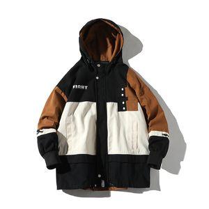 Moda Erkek iWinter Ceket Sıcak Jaqueta Masculina Beyaz Arka Plan Yazım Renk Gevşek Coat Hip Hop Streetwear Çiçek Ceket Erkek