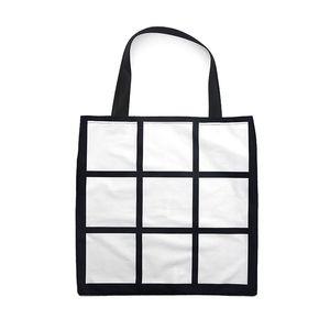 Sublimation Grid handbag Tote Bag Blank White DIY heat transfer shopping bag 9 panels Cloth reusable Storage gift bag handbag FFA4521