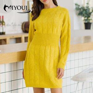 Miyouj sonbahar kış örgü kazak elbise moda 2020 sokak giyim kadın giyim düz renk kadın kazak