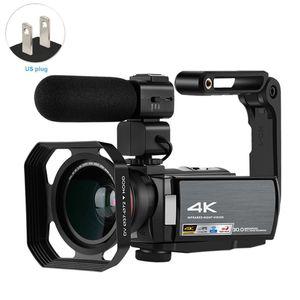 Con lente gran angular externa de la capilla de infrarrojos de visión nocturna 4K videocámara portátil profesional a distancia con pantalla táctil de la cámara de control de vídeo
