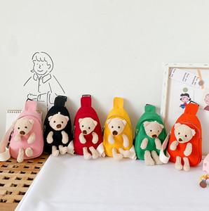 Мода New Kids Cute Bear Doll рюкзаки Дети Холст Повседневной Грудь сумка Мальчики Девочка Одно плечо сумка Дети Shool Рюкзак A4583