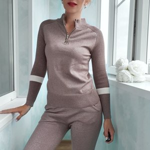 BYGOUBY Automne Hiver Femmes Pull lurex Glitter Outwear Sport Jumper Top tricot chaud Femme Pull 201019