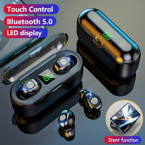 Wireless Earphone Bluetooth V5.0 F9 TWS Headphone HiFi Stereo Earbuds LED Display Touch Control 2200mAh Power Bank Headset With Mic