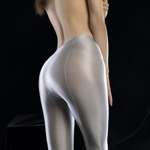 Sexy Full Leggings Shiny Candy Color Full Pencil Pant Oil Glossy Smooth Pantyhose Sexy Erotic Lingerie Pants Women Plus Size M25