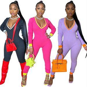 Women Bodysuit Jumpsuit Rompers Deep V Neck Long Sleeve Legging Jumpsuits Slim Romper Sports Yoga Fitness One Piece Pants Onesies E122204