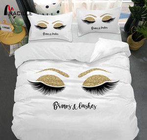 Miracille Eyelash Bed Linen Gold and Black Cute Eyes Pattern Bedding Set Quilt Cover Set 3 Piece Funny Duvet Covers for HomeGQ