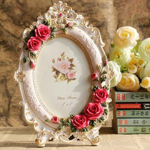 6inch 7inch Picture European Style Resin Rose Flower Photo Frame Oval Rectangle Shape Frames for Wedding Gifts Home Decor Q1107