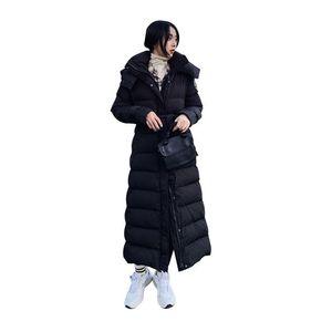 Women X-Long Winter Jacket Hooded Belted Windproof Warm BIO down jacket Oversize Cotton padded Parkas Casaco Feminino