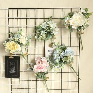 6Colors Silk Camellia J aponica Dahlia Rose Artificial Flower Bouquet DIY Bridal Bouquet Wedding Decoration Home Party Decor