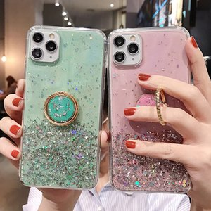 Case Finger Ring Stand For iPhone 11 Pro XR XS Max 6 6S 7 8 Plus X Gradient Glitter Star Soft Epoxy Shockproof Phone Cover