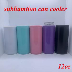 DIY Isı Sublime Can Cooler 12oz İnce Düz Can İzolatör Blank Sıska Çift Duvar Paslanmaz Çelik Vakum Cooler DIY hediyeler YFA2636