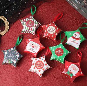 Cajas de regalo de Navidad creativas Cuerda colgante Llevar bolsas Navidad Caja de dulces Santa Claus Cajas de papel Diseño Caja de embalaje IIA826