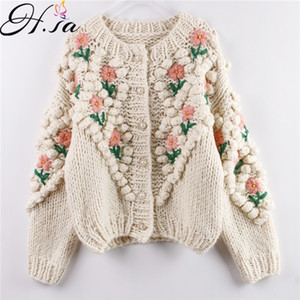 H.SA New Women Winter Handmade Sweater and Cardigans Floral Embroidery Hollow Out Chic Knit Jacket Pearl Beading Cardigans 201006