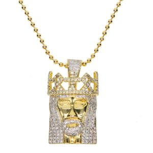 factory promotion High quality Top quality USA HOT SETTING JESUS pendant Gold silver color Crown head hiphop bling cz necklace