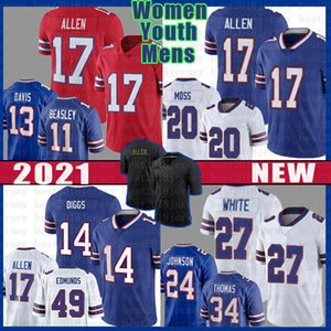 الرجال النساء الشباب الأبيض الجاموس 14 Stefon Diggs 17 Josh Allen Football Jersey Tremaine Edmunds Cole Beasley Zack Moss Jim Kelly Thurman Thomas
