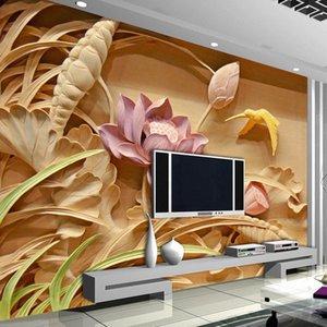 الجملة 3D مخصص الطباعة تقليد نحت الخشب خلفية نمط لوتس جدارية الصينية 3D جداريات كبيرة غرفة المعيشة التلفزيون جدار الفن Wallpap YjBC #