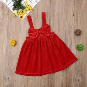 1-6Y Weihnachtskind Baby Mädchen Rotes Samt Kleid Prinzessin Große Bogen Tutu Insgesamt Kleider Party Hochzeitskleid F Jllnci