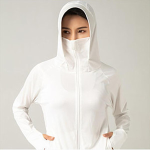 Summer Explosion Ice Silk Sun Protection Clothing Outdoor Shade Solid Sunscreen Clothing Breathable UV Hooded Sunscreen