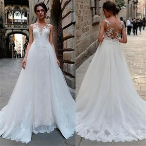 2021 A Line Wedding Dresses Lace Appliques Bridal Gowns V Neck Wedding Dress Custom Made Plus Size Vestido De Novia