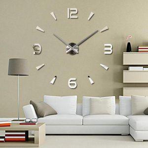 3D DIY Large Wall Clock Modern Design Silent Wall Sticker Clock Acrylic Mirror Self adhesive Clocks Living Room Home Decor