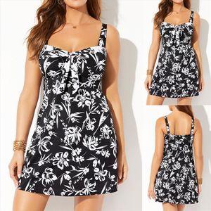 Plus size ladies swimsuit with skirt printing two Pieces Bathing Suits Bikini Set Tankini swimsuit fashion beach wear Biquini