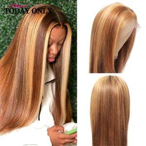 Les perruques en dentelle mettent en lumière les cheveux blonds cheveux humains hindic HD transparent fermeture frontale arrière os brun 150%