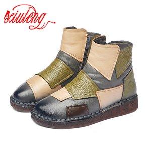 delle Xiuteng donne del cuoio genuino Inverno Femminile scarpa stivali suola piatta Botas Mujer 201019