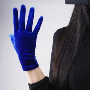 1 Pairs Gold Velvet Gloves Women Soft Elastic Full Finger Mittens Outdoor Cycling Driving Gloves Etiquette Dress Party