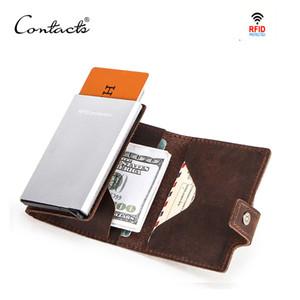 Contatto Crazy Horse in pelle da uomo Portafoglio RFID Blocco Carta di credito Porta carte di credito Scatola di alluminio automatica Pop-up Business Security Borselly Q0112