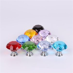 30mm 10 Colors Diamond Crystal Glass Door Knobs Drawer Cabinet Furniture Handle Knob Screw Furniture Accessories Jxw532