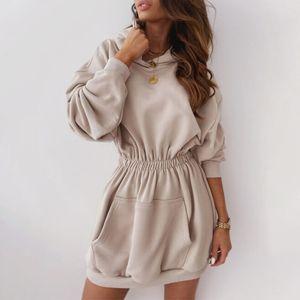 Autumn Fleece Female Sweatshirts Dress Warm Women's Hoodies Elastic Waist Hooded Long Sleeve 2020 New Casual Ladies Sweatshirt