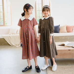 New Spring and Summer 2020 Kids Plaid Dress Retro Girl Fashion Dress Children Kids Dresses for Girls Toddler Clothes Cute,#56631