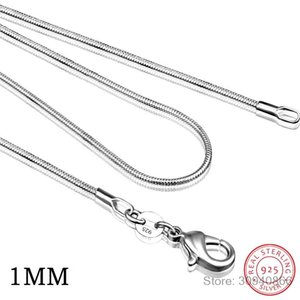 40cm-60cm Tiny Real 925 Sterling Silver 1MM 2MM Slim Round Snake Chain Choker Necklace Women Jewelry Italy Collier Collares Gift