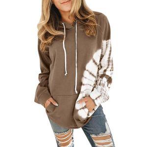 Ladies Fleece Hooded Sweatshirt 2020 Colorblock Ladies Pullover Winter European and American Fashion Warm Hooded Jacket