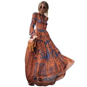 Southpire Bohemian Femmes Chiffon Longue Robe longue 2020 Automne hiver Robe décontractée Femme Élégante fête robes Vintage vêtements LJ201114