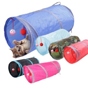 Pet Cat Tunnel Holes Cat Play Tubes With Ball Collapsible Crinkle Kitten Dog Toys Puppy Play Tunnel Tubes Cats Toy