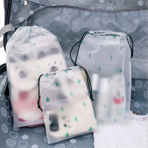 Cactus Transparent Scrub Cosmetic Bag Travel Makeup Case Women Zipper Make Up Bath Organizer Storage Pouch Toiletry Wash Beauty