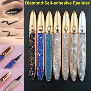 Waterproof Self Adhesive Eyeliner for False Eyelashes No Need Glue to Wear Lashes Liquid Eyeliner Long Lasting Diamond Magic Eyeliner
